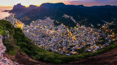 View of Rocinha, the Largest Favela in Rio de Janeiro City, by Evening Light