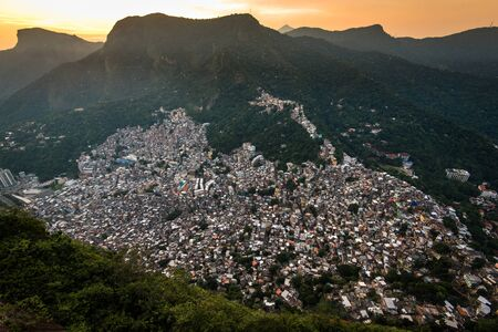 View of Rocinha, Largest Favela in Rio de Janeiro City, Located in the Valley Stock Photo