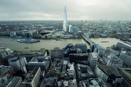 Panoramic Aerial View of London City With Thames River and the Shard Skyscraper in the Center