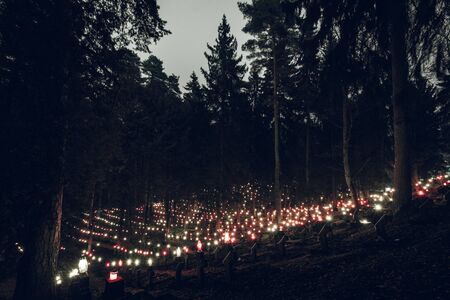 Hundreds of Small Candles Glowing on Stone Crosses in the Cemetery Inside the Forest on All Saints Day