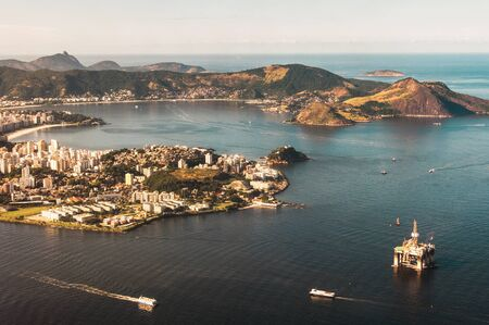 Aerial View of Guanabara Bay, Niteroi City, Oil Platform, Ships and the Ocean in the Horizon, Rio de Janeiro, Brazil