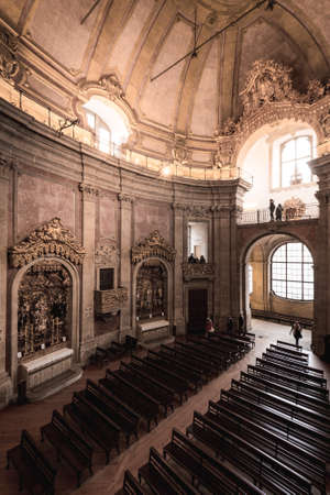 Interior of the Church of Clerics in Porto, Portugal Редакционное