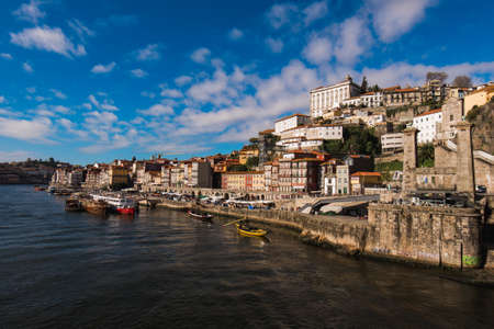 View of Historical Old Town in Porto City at Douro River in Portugal