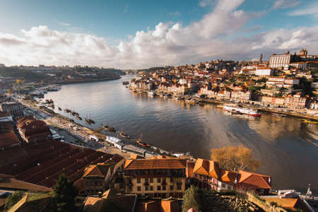 Aerial View of Douro River Between Porto and Vila Nova de Gaia Cities in Portugal