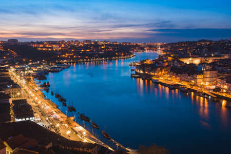 Night View of Douro River Between Porto and Vila Nova de Gaia Cities in Portugal