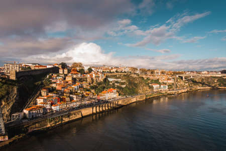 View of Historical Old Town of Porto at Douro River in Portugal Редакционное