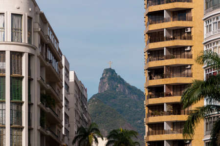 Corcovado Mountain Between Two Residential Apartment Buildings in Rio de Janeiro, Brazil Редакционное