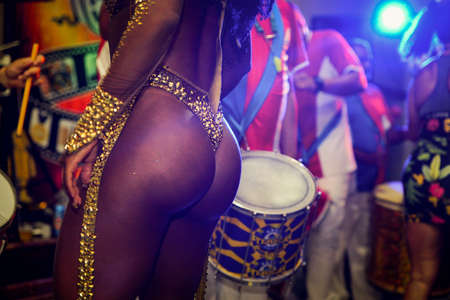 Attractive Body of Samba Dancer in Brazilian Carnival Party
