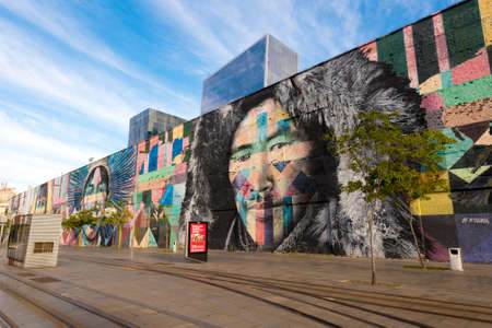 Rio de Janeiro, Brazil - June 30, 2020: Eduardo Kobra's Mural named Native People from the 5 continents. Art on the wall of
