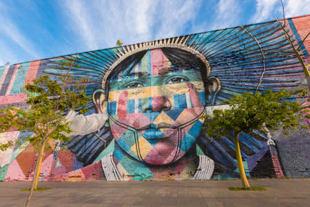 Rio de Janeiro, Brazil - June 30, 2020: Eduardo Kobra's Mural named Native People from the 5 continents. Art on the wall Редакционное
