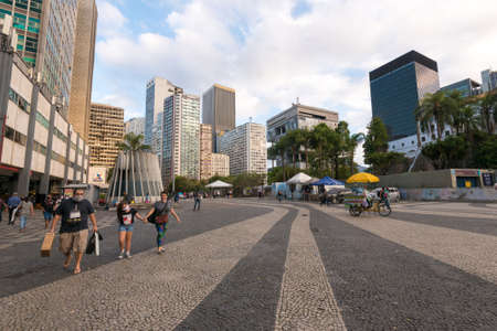 Rio de Janeiro, Brazil - July 2, 2020: Almost empty Carioca square in the city downtown. Before the pandemic, it used to be always full of people.
