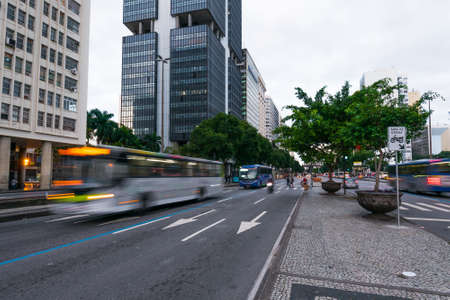 Traffic in Presidente Vargas avenue in Rio de Janeiro city downtown Фото со стока