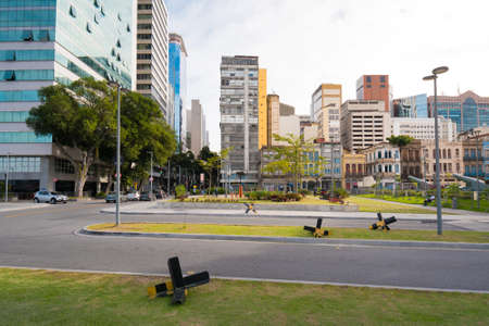 Small Square in Rio de Janeiro City Downtown With Buildings Around Фото со стока - 153147850