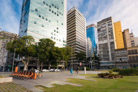 Small Square in Rio de Janeiro City Downtown With Buildings Around Фото со стока - 153147852