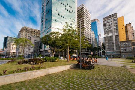 Small Square in Rio de Janeiro City Downtown With Buildings Around Фото со стока - 153147855