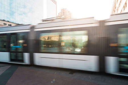 Public Transport Tramway Motion Blur in Rio de Janeiro City Downtown by Sunset Sajtókép
