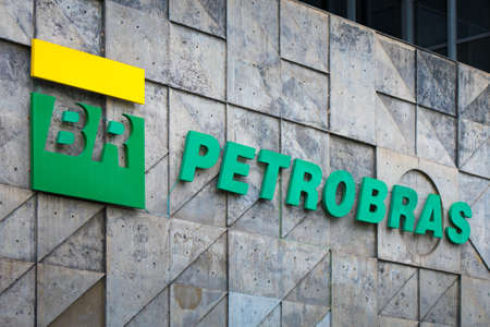 Rio de Janeiro, Brazil - July 16, 2020: Petrobras logo on its headquarters building. Petrobras is oil and gas industry giant Brazil. Фото со стока - 153614786