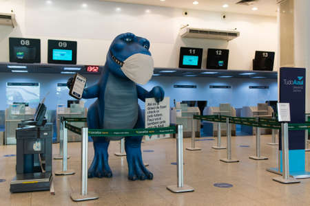 Rio de Janeiro, Brazil - July 16, 2020: Blue dinosaur with protective face mask at the check in counter in Santos Dumont airport. Фото со стока - 153614787