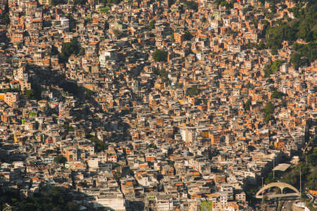 Aerial View of Favela Rocinha in Rio de Janeiro, Which Has 100,000 Inhabintants and is the Largest in Brazil Фото со стока - 154020634