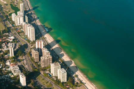 Aerial View of Condo Buildings in Front of the Sao Conrado Beach in Rio de Janeiro, Brazil Фото со стока