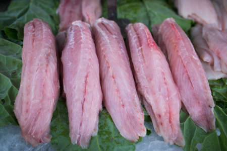 Fresh Fish Fillet Slices at the Market Фото со стока - 154005420