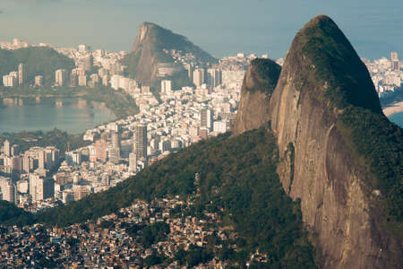 Two Brothers Mountain and Ipanema District Behind It in Rio de Janeiro, Brazil Фото со стока - 154020678