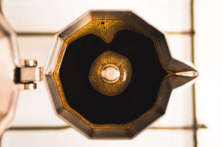 Top View of Coffee in a Moka Pot on the Stove Фото со стока - 154020679