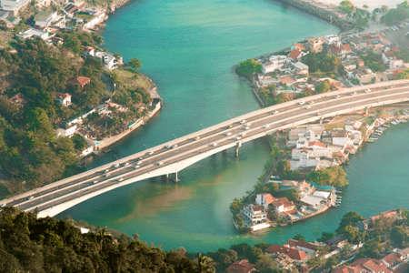 Aerial View of the Bridge Crossing the Canal in Rio de Janeiro City Фото со стока - 154005428