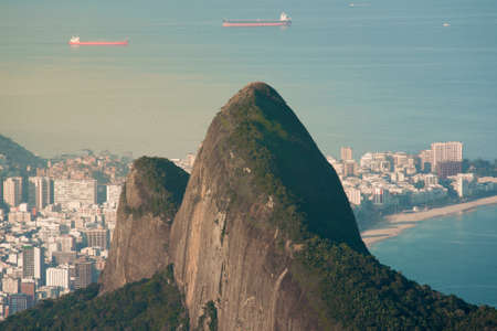 Two Brothers Mountain and Ipanema Beach Behind It in Rio de Janeiro, Brazil Фото со стока - 154020682