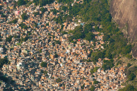 Aerial View of Favela Rocinha in Rio de Janeiro, Which Has 100,000 Inhabintants and is the Largest in Brazil Фото со стока - 154020785