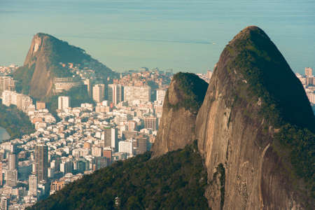 Two Brothers Mountain and Ipanema District Behind It in Rio de Janeiro, Brazil Фото со стока - 154020787
