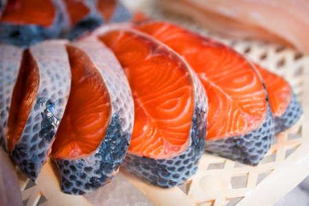 Fresh Salmon Fillet Slices at the Market Фото со стока