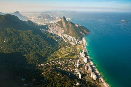 Beautiful Aerial View of Rio de Janeiro Coast With Mountains, Sao Conrado Beach and Slum Rocinha