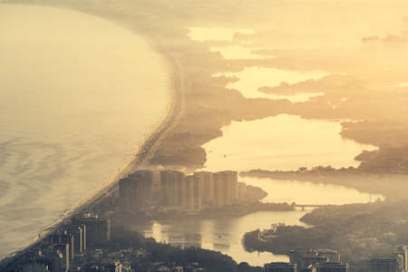 Aerial View of Coast of Rio de Janeiro With Many Lakes on Sunset