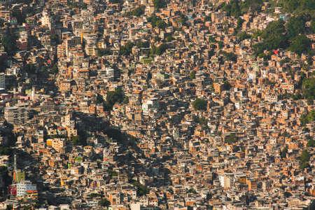 Aerial View of Favela Rocinha in Rio de Janeiro, Which Has 100,000 Inhabintants and is the Largest in Brazil Фото со стока - 154020816