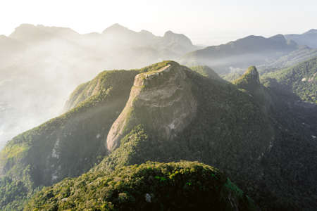View of the Beautiful Rock (Pedra Bonita) by Sunset in Rio de Janeiro, Brazil