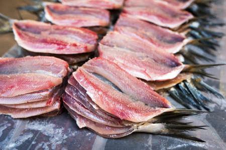 Fresh Clean and Open Raw Sardines at Fish Market Фото со стока - 153991544