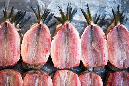 Fresh Clean and Open Raw Sardines at Fish Market Фото со стока - 153991257