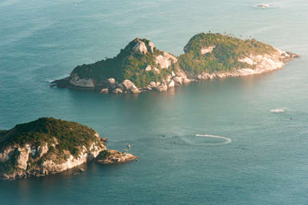 Aerial View of Two Rocky Islands in the Ocean Фото со стока