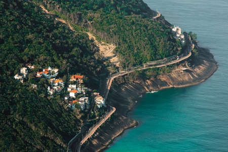 Aerial View of Residential Neighborhood and Elevated Road on the Coast of Rio de Janeiro, Brazil Фото со стока - 154020895