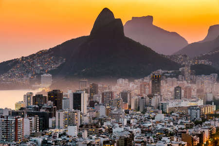 View of Ipanema and Leblon District Buildings and Two Brothers Mountain by Sunset in Rio de Janeiro, Brazil. Фото со стока - 156064500