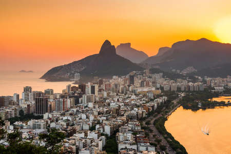 View of Ipanema and Leblon District Buildings and Mountains by Sunset in Rio de Janeiro, Brazil. Фото со стока - 156064511