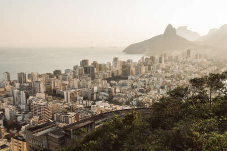 Aerial View of Buildings in Ipanema District and Two Brothers Mountain in the Horizon in Rio de Janeiro, Brazil. Фото со стока - 156064512