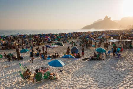 Rio de Janeiro, Brazil - September 13, 2020: Brazilians enjoy sunny Sunday afternoon at the Ipanema beach.
