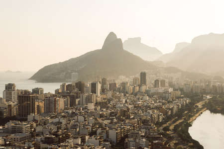 Aerial View of Buildings in Ipanema District and Two Brothers Mountain in the Horizon in Rio de Janeiro, Brazil. Фото со стока - 156064557