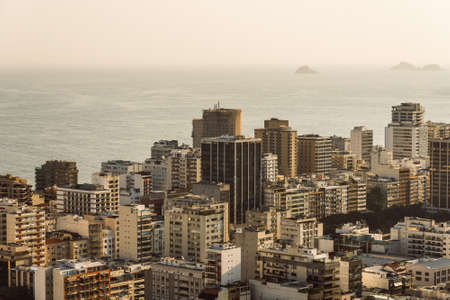 Skyline of Apartment Buildings in Ipanema District With Ocean View in the Horizon in Rio de Janeiro, Brazil. Фото со стока - 156064565