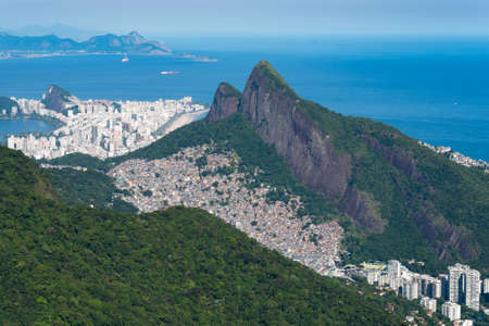 Aerial View of Favela Rocinha, the Largest in Latin America, Located on the Mountain in Rio de Janeiro, Brazil