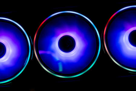 Colorful RGB Led Lights of Gaming Computer Cooler and Fan Фото со стока