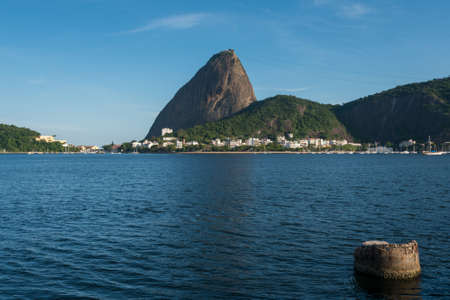 Profile View of the Sugarloaf Mountain Above Guanabara Bay in Rio de Janeiro, Brazil Фото со стока