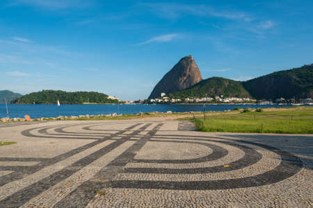 Sugarloaf Mountain View From Flamengo Park and Portuguese Tiles on the Ground in Rio de Janeiro, Brazil